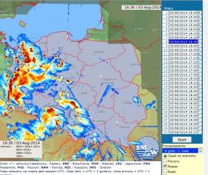 """Mapa echa radarowego z 03 sierpnia 2014 r. wraz z widocznymi zakłóceniami typu """"spike"""". Źródło: Awiacha IMGW-PIB"""