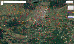 Wyładowania atmosferyczne wykryte przez detektory systemu Blitzortung w rejonie Brzeska z dnia 21.06.2013 r. (źródło: Lightningmaps.org)