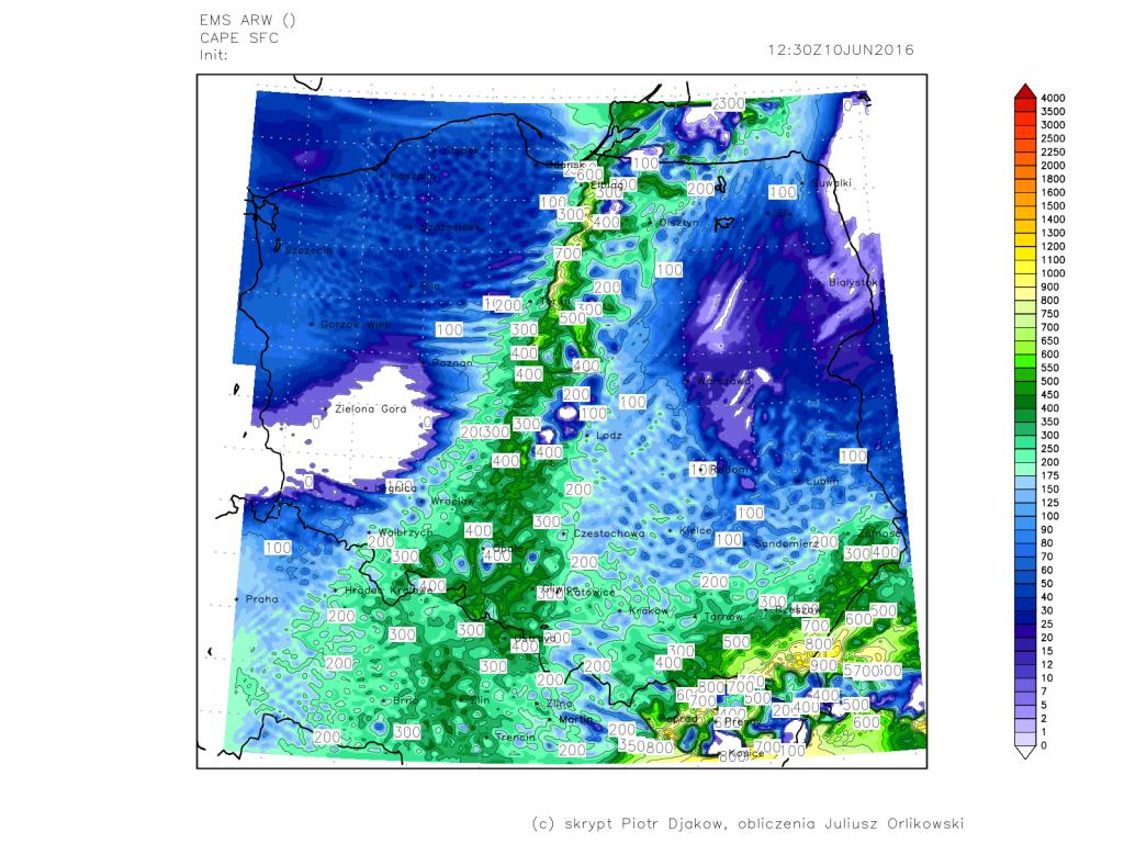 Prognoza energii potencjalnej dostępnej konwekcyjnie (CAPE). Źródło: meteoprognoza.pl