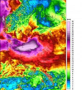 Prognozowane maksymalne porywy wiatru obliczone przez polski model numeryczny UM na dzień 03 lutego 2016 r.r. Źródło: http://www.meteo.pl/