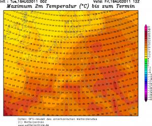 Spodziewane temperatury maksymalne powietrza