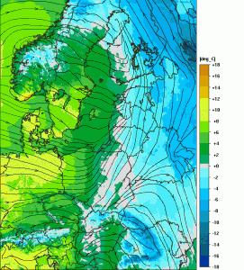 Spodziewana temperatura powietrza na jutro, godz. 16:00 CET