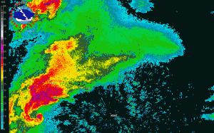 Superkomórka klasyczna na obrazie odbiciowości opadów nad okolicami Raleigh (Karolina Płn., USA), źródło: NWS NOAA