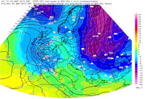 Temperatura mas powietrza nad Europą (http://www.estofex.org)