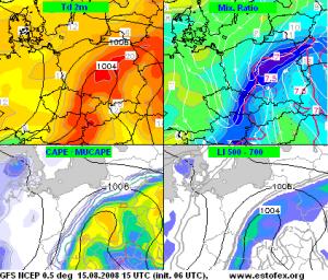 Prognozowane przez model GFS parametry związane z chwiejnością troposfery na dzień 15.08.2008 (źródło: estofex.org).