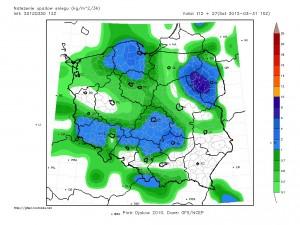SPodziewane natężenie opadów śniegu za okres 3 godzin (źródło: http://gfspl.rootnode.net/)