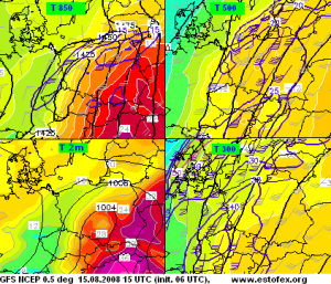 Prognoza modelu GFS dla Polski na dzień 15.08.2008 - temperatury i wiatr na poziomach 2 m, 850 hPa, 500 hPa i 300 hPa (źródło: estofex. org).