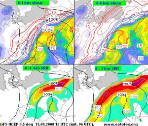Prognoza GFS dla Polski na dzień 15.08.2008 (źródło: estofex.org). Wartości pionowych uskoków wiatru.