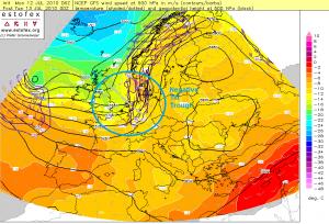 Przykład fali negatywnie odchylonej nad Europą (źródło: Estofex)