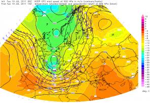 Długa fala nad Europą Zachodnią na mapie powierzchni izobarycznej 500 hPa (źródło: Estofex)