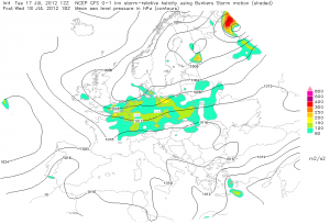 Wyliczany pionowy uskok kierunkowy wiatru w dolnej troposferze (ESTOFEX)