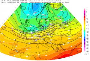 Spodziewana stała prędkość wiatru na wysokości izobarycznej 500 hPa (ESTOFEX)