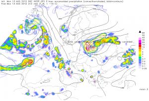 Prognozowane natężenie opadów na godzinę 02:00 CEST (ESTOFEX)