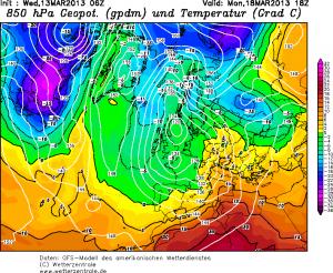 Prognozowany napływ ciepłej masy powietrza na poniedziałek (http://www.wetterzentrale.de/)