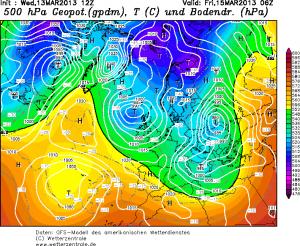 Prognozowane ulokowanie niżu na piątek, godzinę 06:00 UTC (http://www.wetterzentrale.de/)