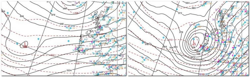 """Położenie oraz głębokość układu niskiego ciśnienia """"Tini"""" - po lewej z dn. 11.02.2014 godz. 23:00, po prawej z dn. 12.02.2014, godz. 10:00 czasu środkowoeuropejskiego. (źródło: UQAM Weather Centre)"""