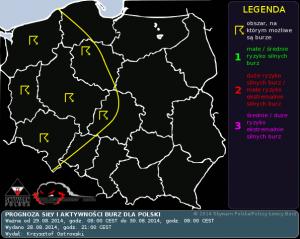 Prognoza konwekcyjna na dzień 29.08.2014 i na noc 29/30.08.2014