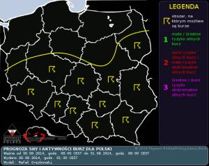 Prognoza konwekcyjna na dzień 30.08.2014 i na noc 30/31.08.2014