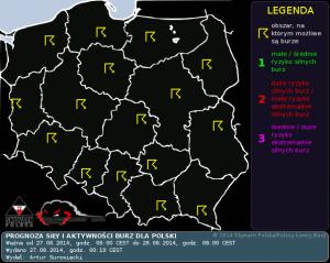 Prognoza konwekcyjna na dzień 27.08.2014 i na noc 27/28.08.2014