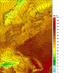 Prognozowana temperatura powietrza na godzinę 12:00 UTC (model UMPL)
