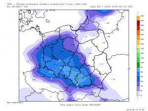 Wyliczana energia SBCAPE przez model GFS - godzina 15:00 UTC