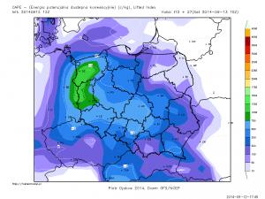 Prognozowana energia SBCAPE na godziny popołudniowe (GFS)