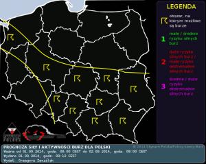 Prognoza konwekcyjna na dzień 01.09.2014 oraz noc z 01/02.09.2014