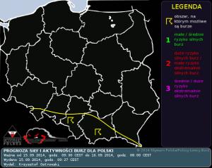 Prognoza konwekcyjna na dzień 15.09.2014 i na noc 15/16.09.2014