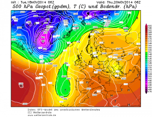 Prognozowany dynamiczny ośrodek niżowy na południowym - wschodzie Europy (GFS)