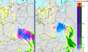 Wyliczane natężenie i rodzaj opadów na nadchodzącą dobę przez model UMPL (meteo.pl)