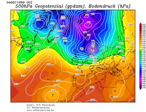 Ciśnienie atmosferyczne i wysokość geopotencjalna 500 hPa (reanaliza CFS, źródło: wetterzentrale.de)