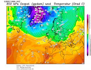 Tworzący się na zachód od Wysp Brytyjskich niż Anatol (reanaliza CFS, źródło: wetterzentrale.de)
