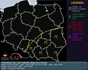 Prognoza konwekcyjna dla Polski na dzień 24.04.2015 i na noc 24/25.04.2015