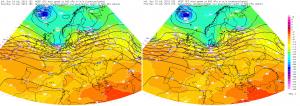 Mapy poziomu 500 hPa z godziny 15 i 21 UTC (17 i 23 CEST)