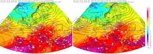 Mapy poziomu 850 hPa z godziny 15 i 21 UTC (17 i 23 CEST)
