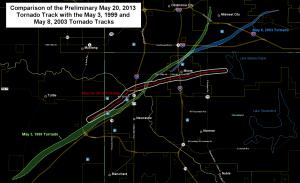 Porównanie szlaków niszczycielskich tornad z rejonu Moore