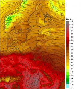 Prognozowana temperatura powietrza na jutrzejsze popołudnie (model UMPL)