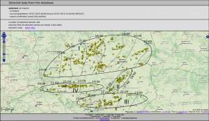 Mapa raportów ESWD z nakreślonymi trasami przejścia burz
