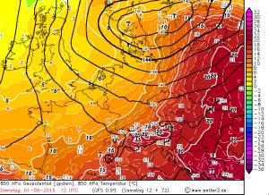 Wyliczana temperatura powietrza na wysokości izobarycznej 850 hPa - 01 września, godzina 12:00 UTC (GFS)