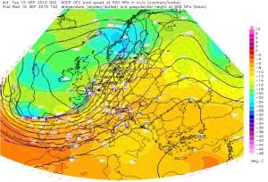 Prognozowany gwałtowny wiatr w środkowej troposferze dla Europy Zachodniej (GFS, ESTOFEX)