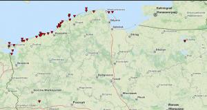 Grafika obrazująca przypadki trąb wodnych, które wystąpiły na terytorium Polski w latach 2005-2015. Można zwrócić uwagę na jeden przypadek w woj. lubuskim (Jezioro Głębokie niedaleko Międzyrzecza - 2006) oraz w woj. warmińsko-mazurskim (Jezioro Niegocin koło Giżycka - 2009). Źródło: ESWD