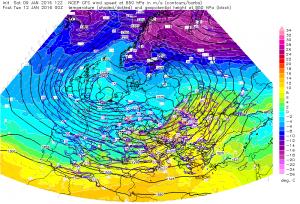 Prognoza temperatury dla powierzchni ziobarycznej 850 hPa ukazuje dynamiczne zderzenie się dwóch mas powietrznych nad SE Polską w nocy 11/12.01.2016. Źródło grafiki: ESTOFEX, model: GFS