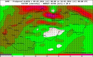 Wyjątkowo groźne prognozy dotyczące możliwych maksymalnych porywów wiatru halnego w oparciu o dane z modelu ALADIN