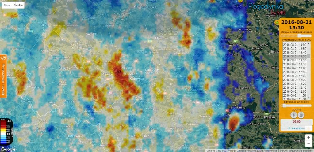 Maksymalna odbiciowość w pionie (CMAX) przed uformowaniem się trąby powietrznej (źródło: IMGW-PIB)