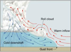 Mechanizm powstawania wału rotorowego (ang. roll cloud). Niebieskie strzałki - chłodny prąd zstępujący, czerwone strzałki - ciepły prąd wstępujący. Pomiędzy nimi znajduje się front szkwałowy (ang. gust front). Źródło: geography.hunter.cuny.edu