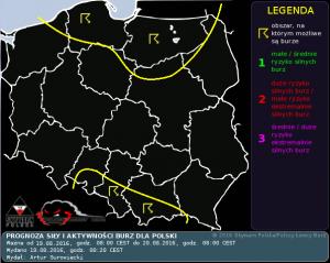 Prognoza siły i aktywności burz dla Polski na dzień 19.08.2016 i na noc 19/20.08.2016