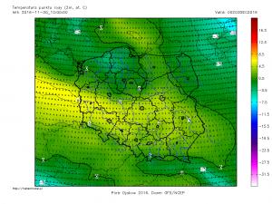 Ciepły sektor układu niżowego jest dobrze widocznych na mapach prognostycznych temperatury punktu rosy (prognoza GFS na 02.12.2016, godz. 00 UTC, źródło: http://meteomodel.pl)