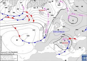 Prognoza sytuacji synoptycznej na godzinę 12:00 UTC, 12.11.2016. Źródło: Met.fu-berlin.de