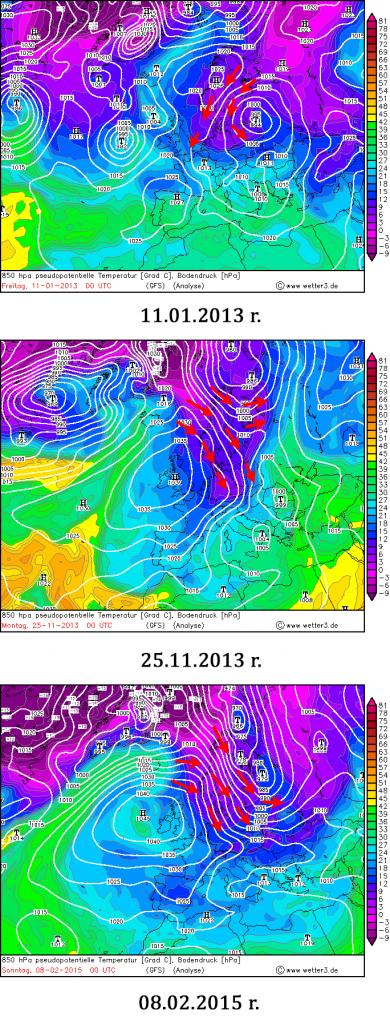 Mapy temperatury ekwiwalentno-potencjalnej z wysokości izobarycznej 850 hPa w dniach, w których nad południowym wybrzeżem Bałtyku wystąpił efekt jeziora. Źródło: wetter3.de.
