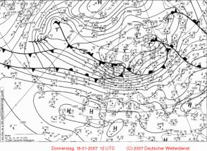Mapa synoptyczna dolna z 18.01.2007, 12:00 UTC. Źródło: Wetter3.de/Archiv